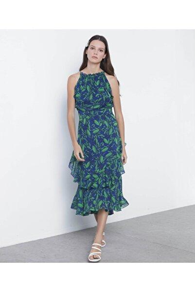 İpekyol Kadın Yeşil Fırfır Şeritli Desenli Elbise