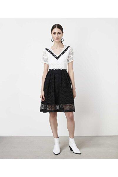 İpekyol Kadın Siyah Color Block Güpür Elbise