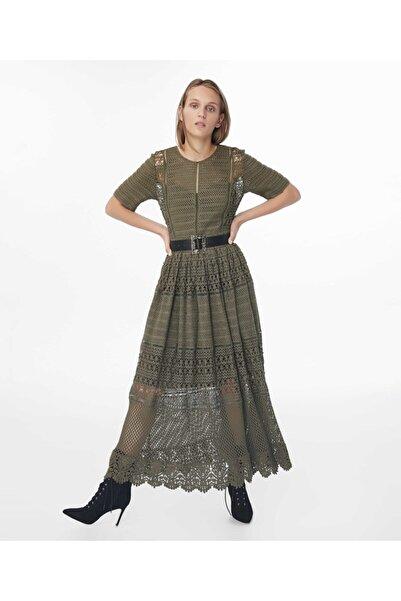 İpekyol Kadın Haki Transparan Güpür Elbise