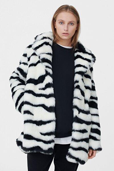 Bershka Kadın Kirli Beyaz Tüylü Ceket