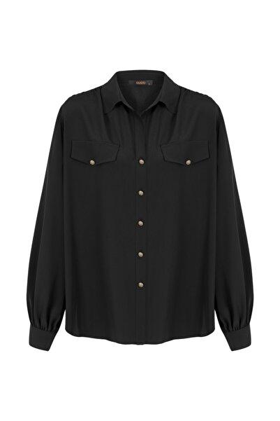 Gusto Kadın Siyah Uzun Kollu Gömlek