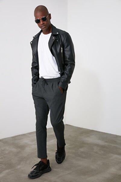 TRENDYOL MAN Antrasit Erkek Beli Lastikli Slim Fit Pantolon TMNAW21PL0107