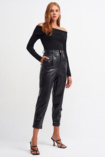 Dilvin Kadın 7741 Bel Pilili Duble Paça Pantolon-Siyah 106A07741