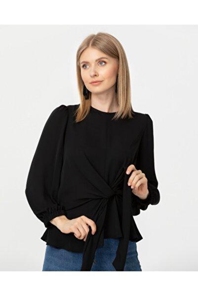SEÇİL Kadın Siyah Bağlama Detaylı Bluz