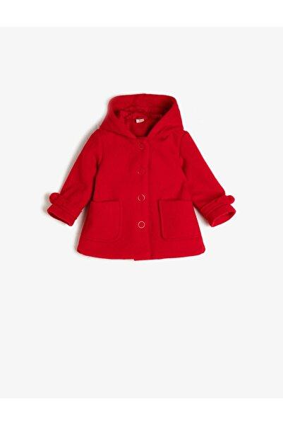 Koton Kız Çocuk Kırmızı  Kapüşonlu Gabardin Mont
