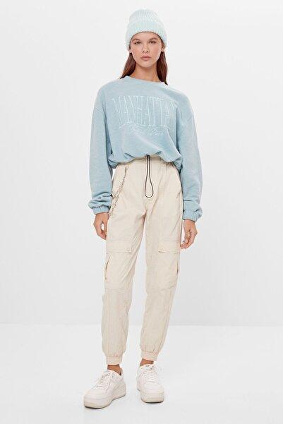 Bershka Kadın Yeşil Elastik Kenarlı Crop Fit Sweatshirt