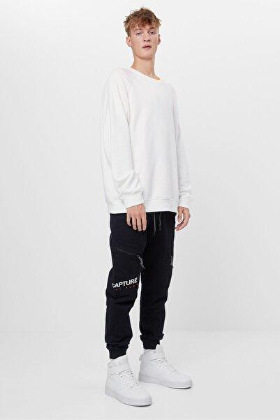 Bershka Erkek Siyah Fermuarlı Pantolon