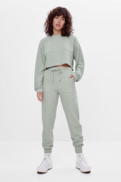 Bershka Kadın Haki Ajurlu Örgü Jogger Pantolon