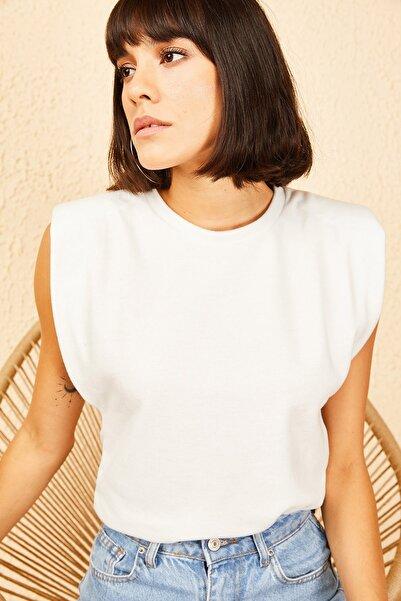 Bianco Lucci Kadın Beyaz Vatkalı Süet Bluz 10141034
