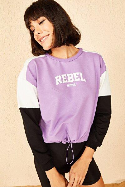 Bianco Lucci Kadın Lila Rebel Baskılı Sweatshirt 10141010
