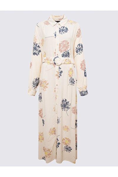 Marks & Spencer Kadın Bej Çiçek Desenli Elbise T42004071