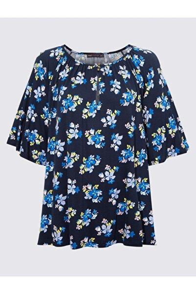 Marks & Spencer Kadın Lacivert Kısa Kollu Desenli Bluz T41007848