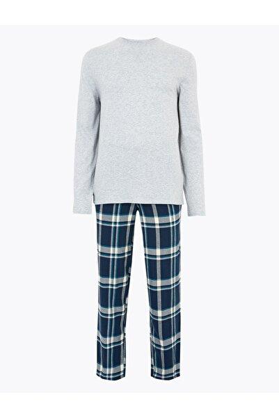 Marks & Spencer Erkek Gri Ekose Pijama Takımı T07007577