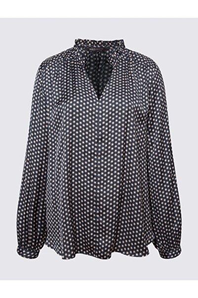 Marks & Spencer Kadın Lacivert Geometrik Desenli Uzun Kollu Bluz T43003261