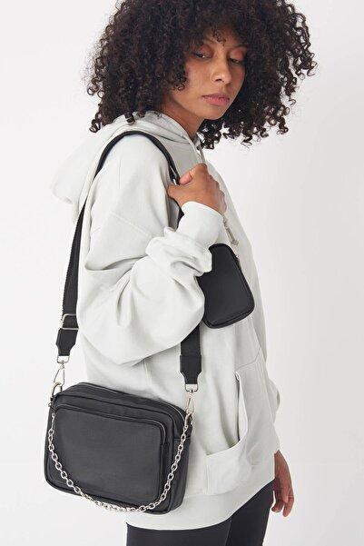 Addax Kadın Siyah Cüzdan Aksesuarlı Askılı Çanta Ç3223 - F9 ADX-0000023133