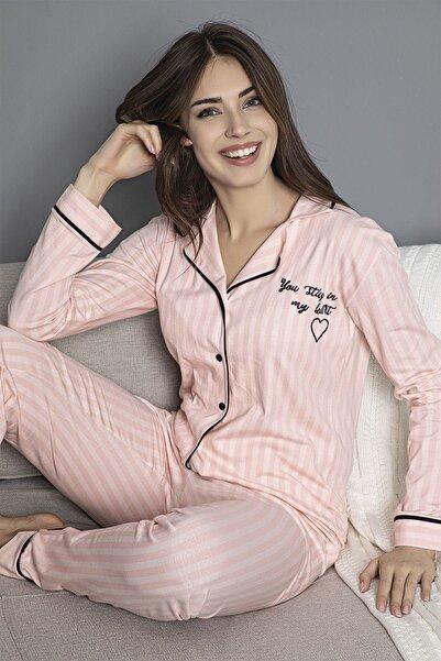 Siyah İnci Somon Pamuklu Likrali Biyeli Düğmeli Pijama Takım