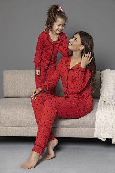 Siyah İnci kirmizi-siyah Pamuklu Likrali Biyeli Düğmeli Pijama Takım