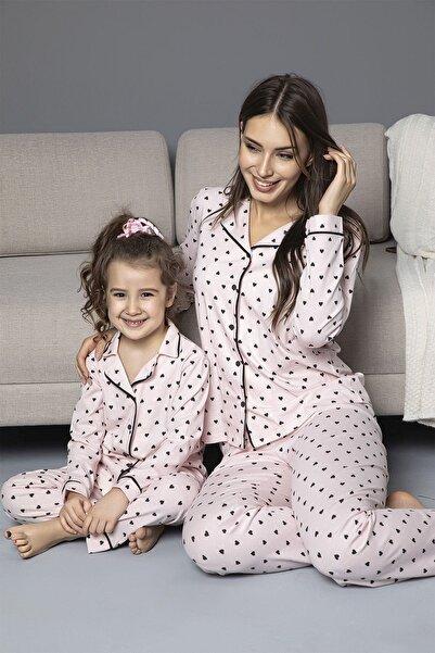 Siyah İnci PEMBE Pamuklu Likrali Biyeli Düğmeli Pijama Takım