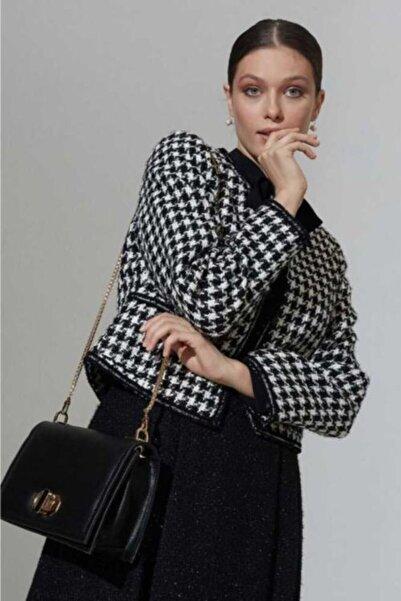 Mimya Kadın Kazayağı Desen Ceket
