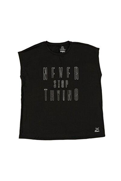 Kinetix Ivona Slogan Kadın Siyah  Tişört