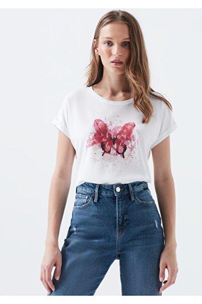 Kadın Beyaz Kelebek İstanbul T-Shirt 167576-620