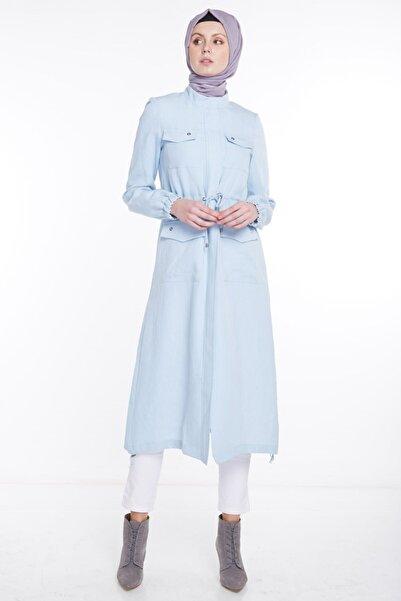 Tuğba Kadın Açık Mavi Kısa Pardesü