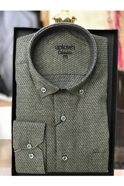 Uptown Erkek Yeşil Klasik  Kışlık Oduncu Gömleği