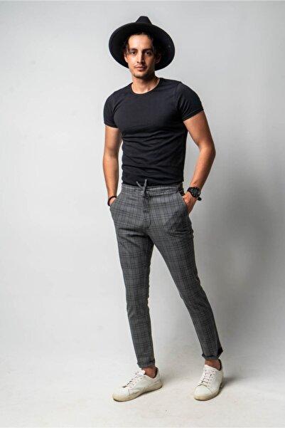 CNS Erkek Gri Kareli Pantolon