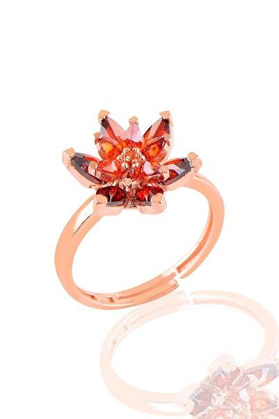 Söğütlü Silver Gümüş Rose Kırmızı Taşlı Nilüfer Lotus Çiçeği Yüzük