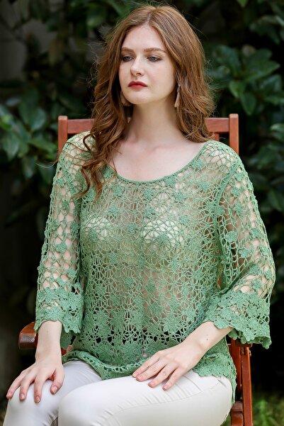 Chiccy Kadın Yeşil Retro Çiçek Desenli 3/4 Kol Tığ İşi Örgü Bluz M10010200BL95931