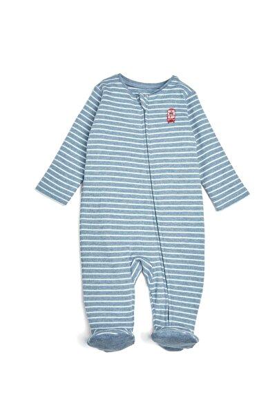 Mamas Papas Bebek Mavi Çizgili Fermuarlı Patikli Tulum