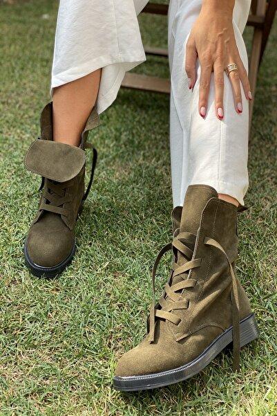 İnan Ayakkabı Kadın Haki Süet  Fermuarsız Kalın Bağcık Detaylı Postal