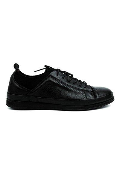 Barker Erkek Siyah  Deri Rahat Günlük Ayakkabı
