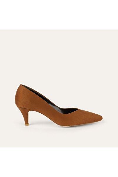 Mudo Kadın Kahverengi Süet Görünümlü Topuklu Ayakkabı