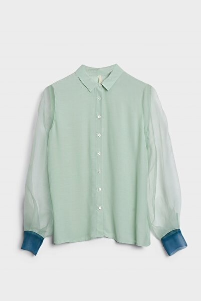Yargıcı Kadın Mınt Manşet Detaylı Gömlek 0KKGM6053X