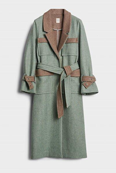 Yargıcı Kadın Su Yeşili Cep Detaylı Uzun Palto 0KKPL5109X