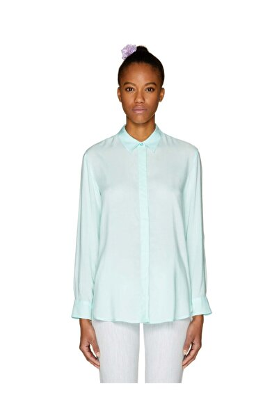 United Colors of Benetton Kadın Yeşil Düz Renk Viskon Gömlek