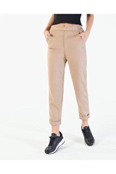 Kadın Bej Katlama Paça Süet Pantolon