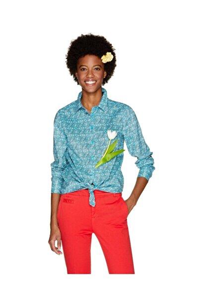 United Colors of Benetton Kadın Mavi Desenli Gömlek