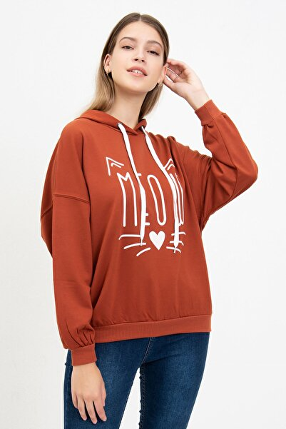 Mossta Kadın Kiremit  Meow Baskılı Sweatshirt