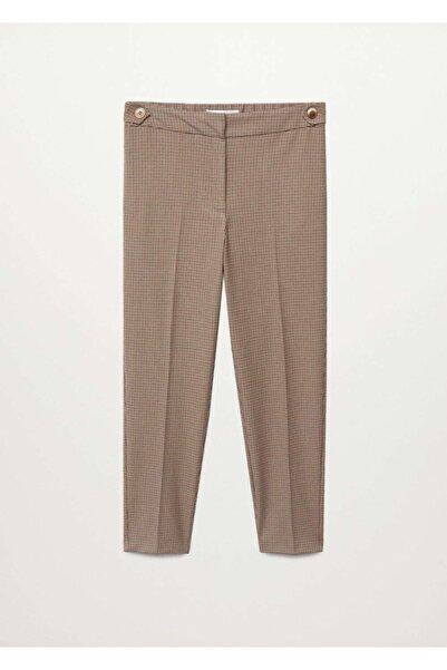 Violeta by MANGO Kadın Kahverengi Kısa Paçalı Dar Kesim Pantolon