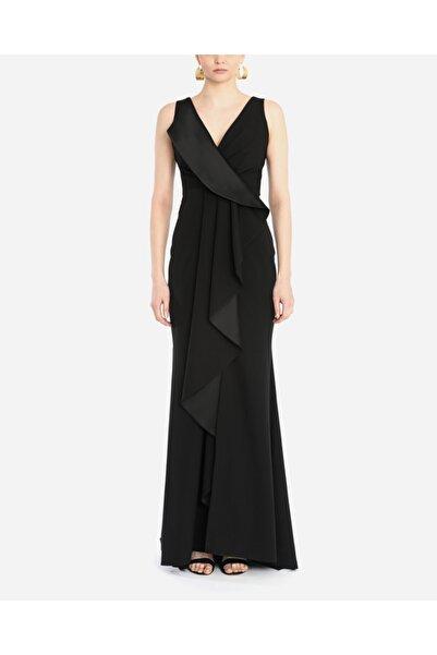 AYHAN Kadın Siyah Saten Detay Abiye & Mezuniyet Elbisesi