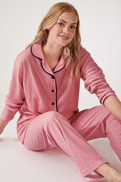 Happiness İst. Kadın Koyu Pembe Puantiyeli Örme Pijama Takımı GL00021
