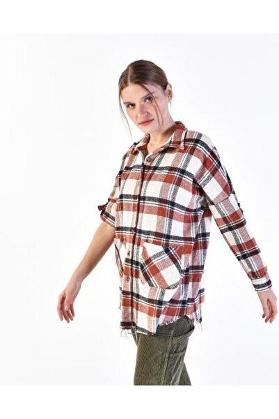 Vision Kadın Bej Ekoseli Gömlek