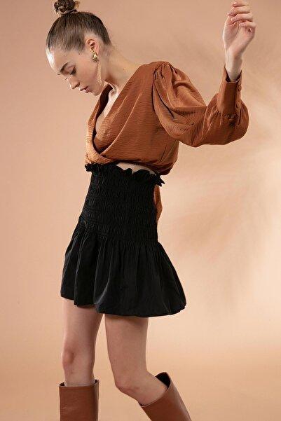 Y-London Kadın Siyah Büzgülü Yüksek Bel Mini Etek Y20W180-6289