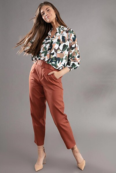 Y-London Kadın Kiremit ;Kemer Detaylı Pileli Yüksek Bel Pantolon 39522