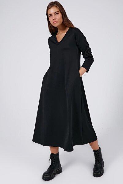 Y-London Kadın Siyah V Yaka Basic Uzun Kollu Elbise Y20W183-7006