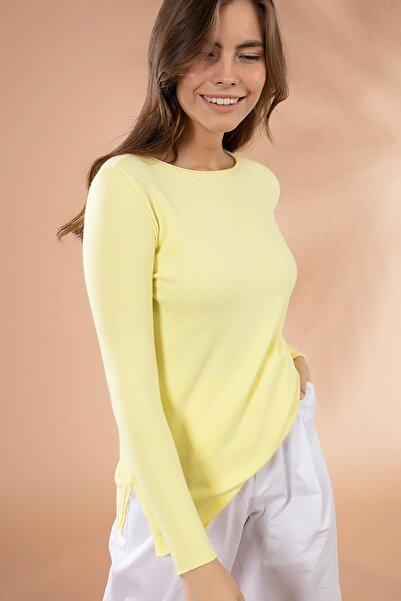 Y-London Kadın SARI Yırtmaçlı Basic İnce Triko Kazak Y20W117-20225