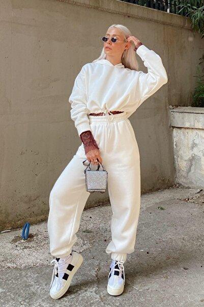 SwistLuxury Kadın Beyaz Uzun Kollu  Eşofman Takımı