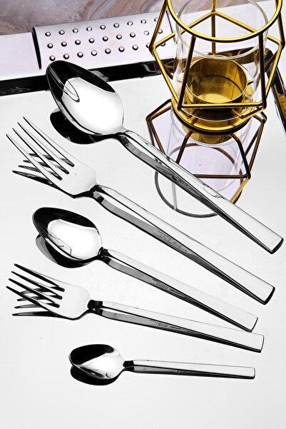 Kitchen Life 30 Parça Lüx Titanyum Gümüş 304 Kalite Çatal Kaşık Bıçak Seti